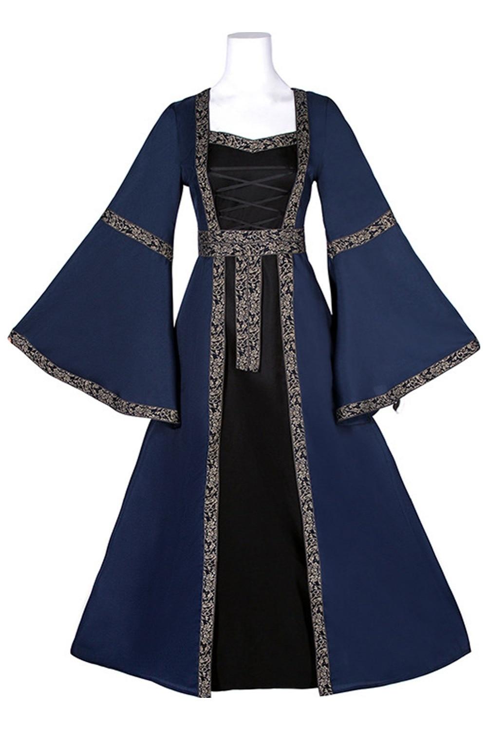Medieval Costume Women Victoria Vintage Dress High Waist Trumpet Sleeve Gothic Dress Ball Gown Long Sleeve