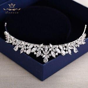 Image 4 - Bavoen Elegant Funkelnden Zirkon Bräute Diademe Kopfschmuck Überzogene Kristall Braut Kronen Stirnbänder Hochzeit Kleid Haar Zubehör