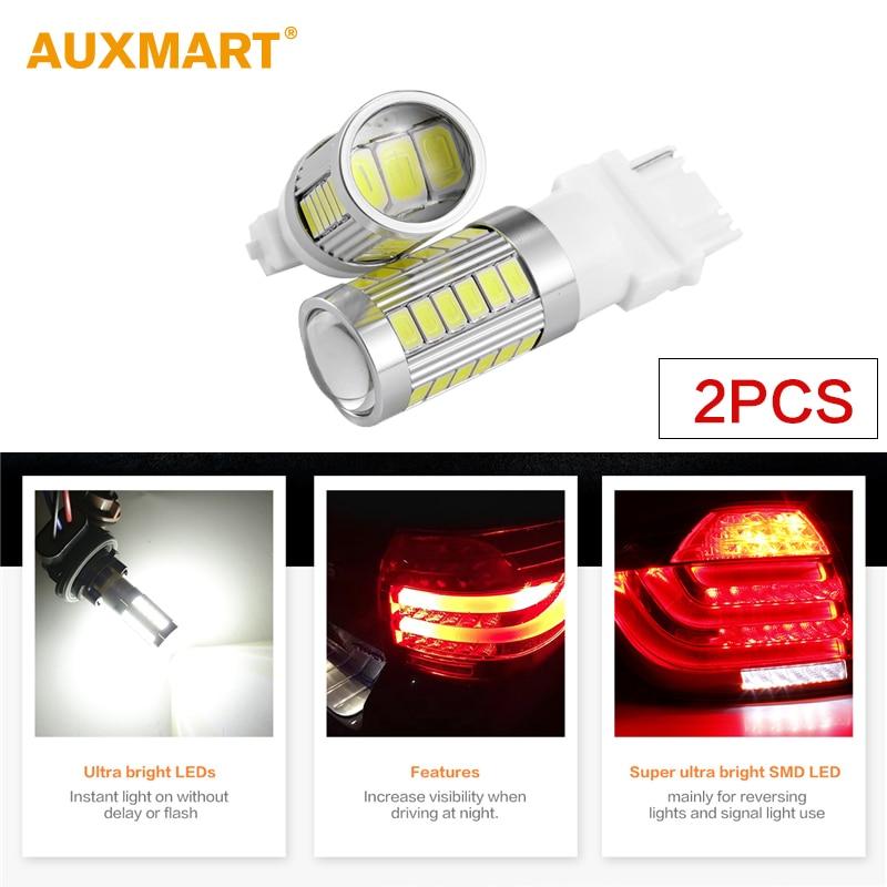 Auxmart T25 3157 3156 33SMD LED For Jeep Grand Cherokee 2011 Brake light 5730 Chips White LED Tail Stop light 3157 3156 60w 600lm 6500k 12 smd white light led steering brake light for car dc12 24v