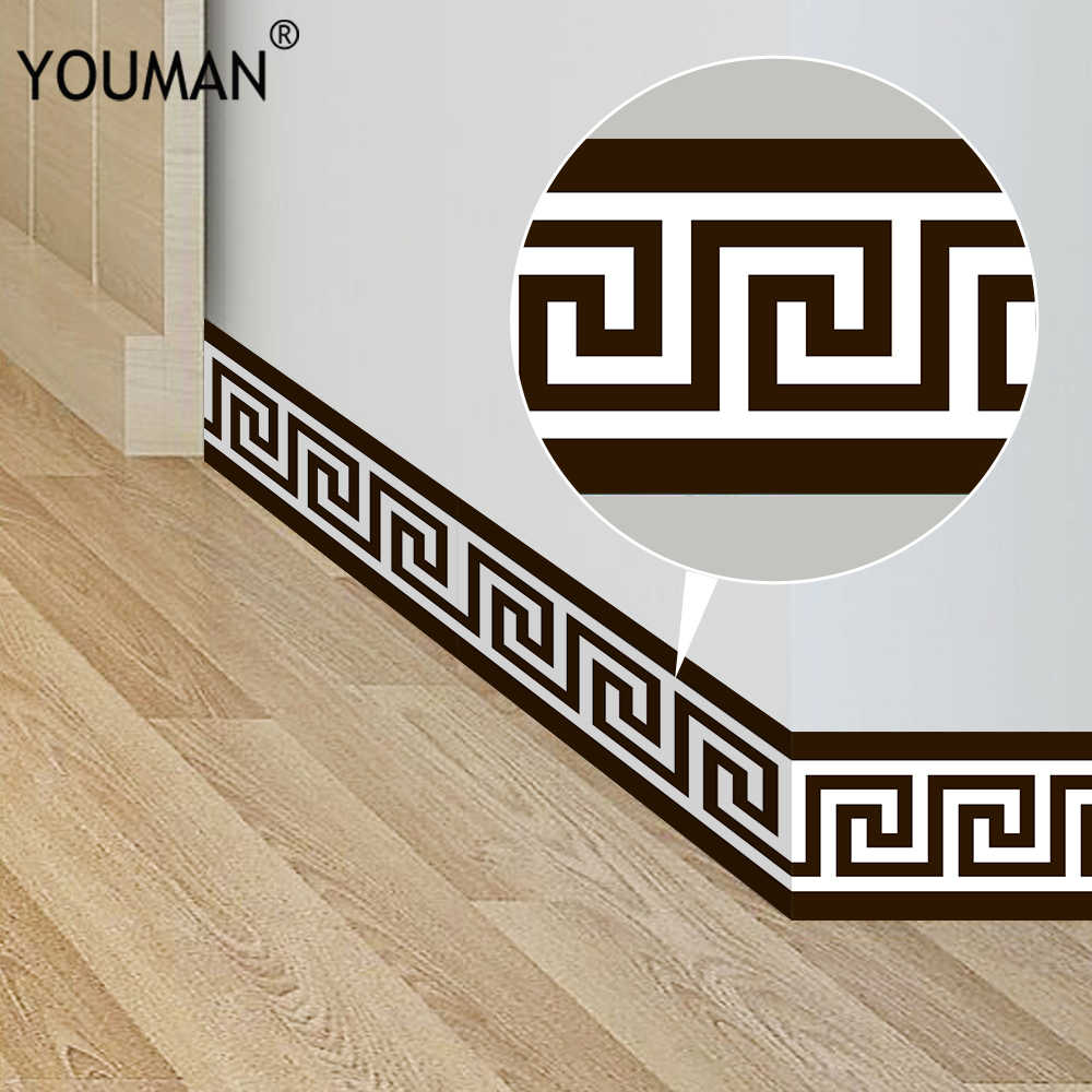 New Product 10*200cm Geometric Pattern Waist Lines Self -Adhesive Waterproof Removable Wall Border Stickers for Home Decoration