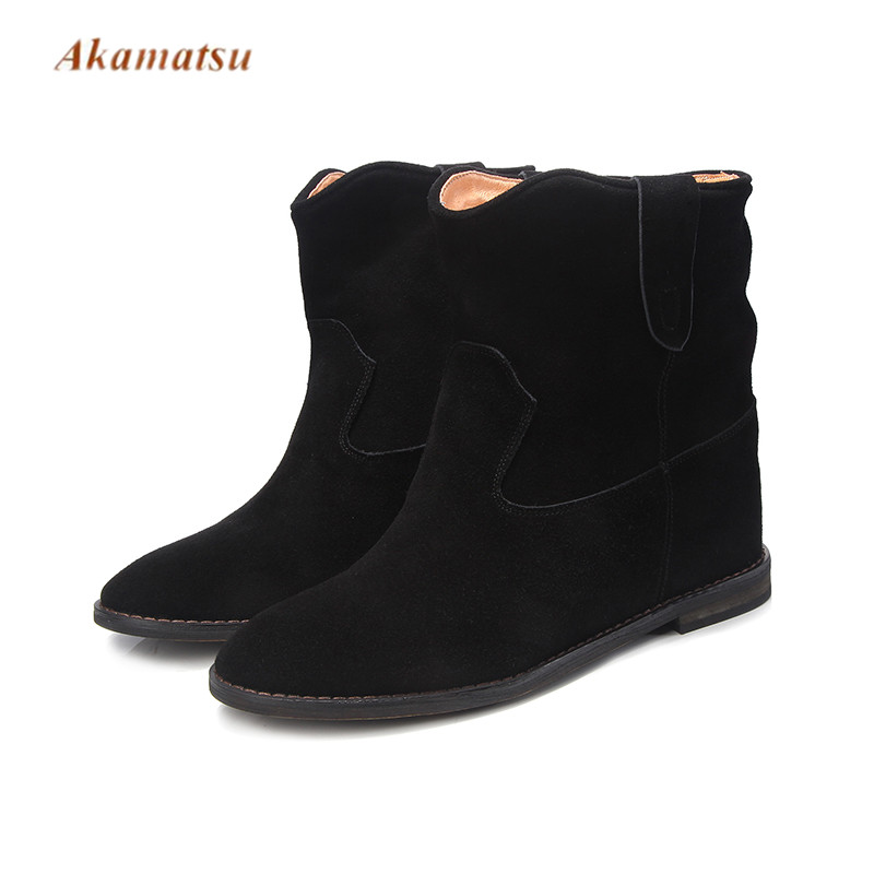 Akamatsu Retro Mid Calf Hidden Heel Women Riding Boots Solid Suede Leather Cowboy Fashion Height Increasing Slip On Women Shoes high heel slip on rivet wedge peep toe mid calf boots extreme height increasing fashion summer stud muffin women shoes black