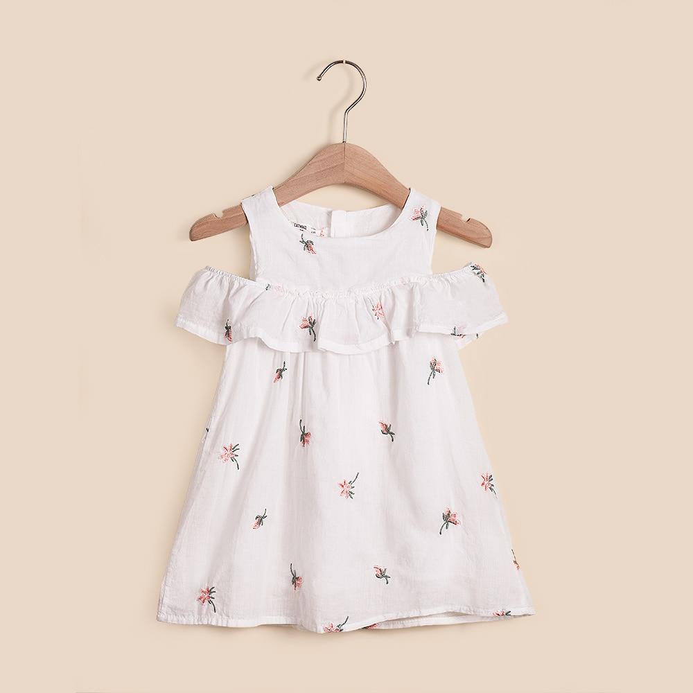 339bbe90fbd83 IMMDOS Été Filles Robe Enfants Coton Broderie Robes pour Fille Bébé ...