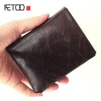 AETOO New leather wallet wholesale Korean handmade wallet lady short Vintage wallet