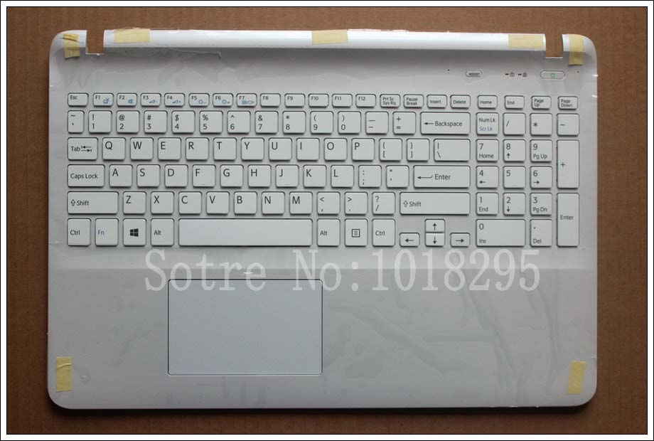US keyboard laptop for sony Vaio SVF15NE2E SVF152A29M SVF15A1M2ES SVF152a29u white keyboard with frame Palmrest Touchpad Cover laptop keyboard for acer silver without frame czech cz sk v 121646ck2 cs aezqs300110