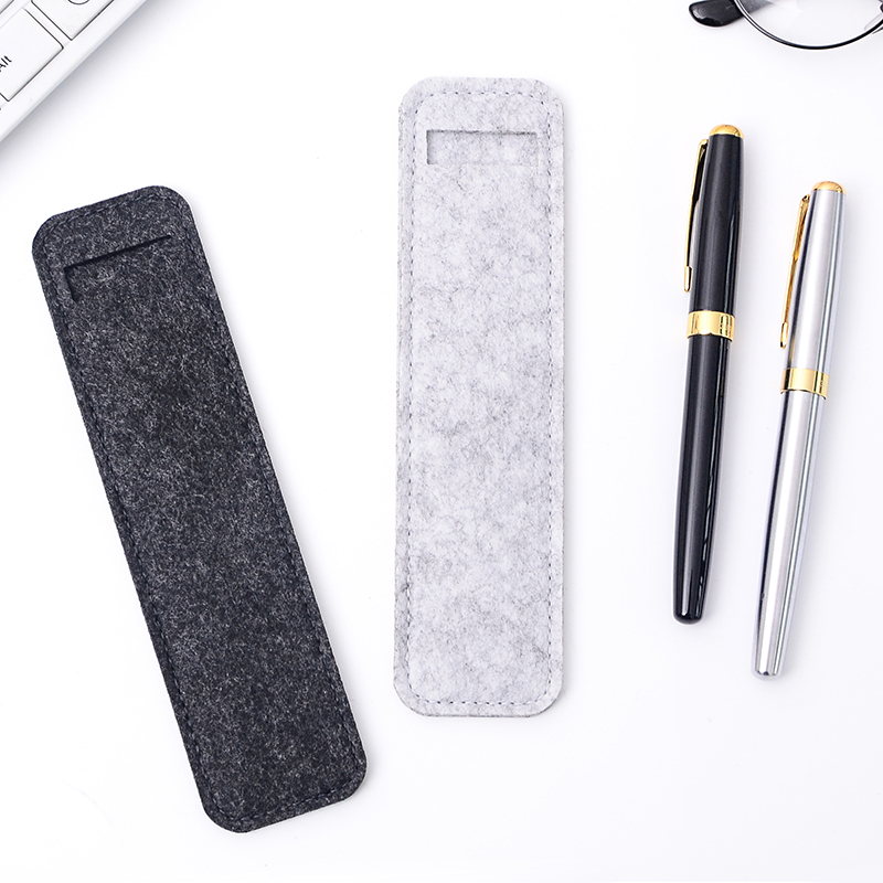 High Quality Small Felt Pen Pouch Holder Single Hole Roller Ballpoint Fountain Pens Pencil Case Bags School Office Stationery