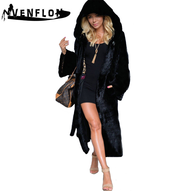 VENFLON Black Hooded Faux Fur Coat Women Winter Faux Fox Fur Long Jacket Female 2019 Fashion Plus Size Coats Warm Overcoat 4XL