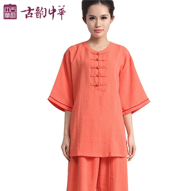 Spring And Summer Linen Cotton Ladies Sleeve Tai Chi Clothing Clothes Morning Suit 6 Colored Short Sleeved Clothes.