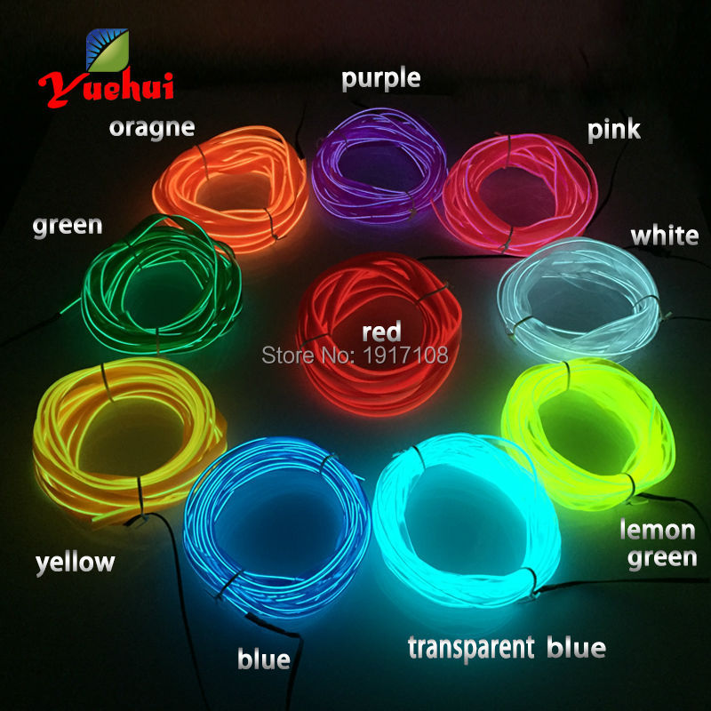 5Meter 10 COLOR Flexible 2.3mm-Skirt EL Wire Neon Light 12V Car Party Decoration Offer 360 degrees of illumination Multicolor