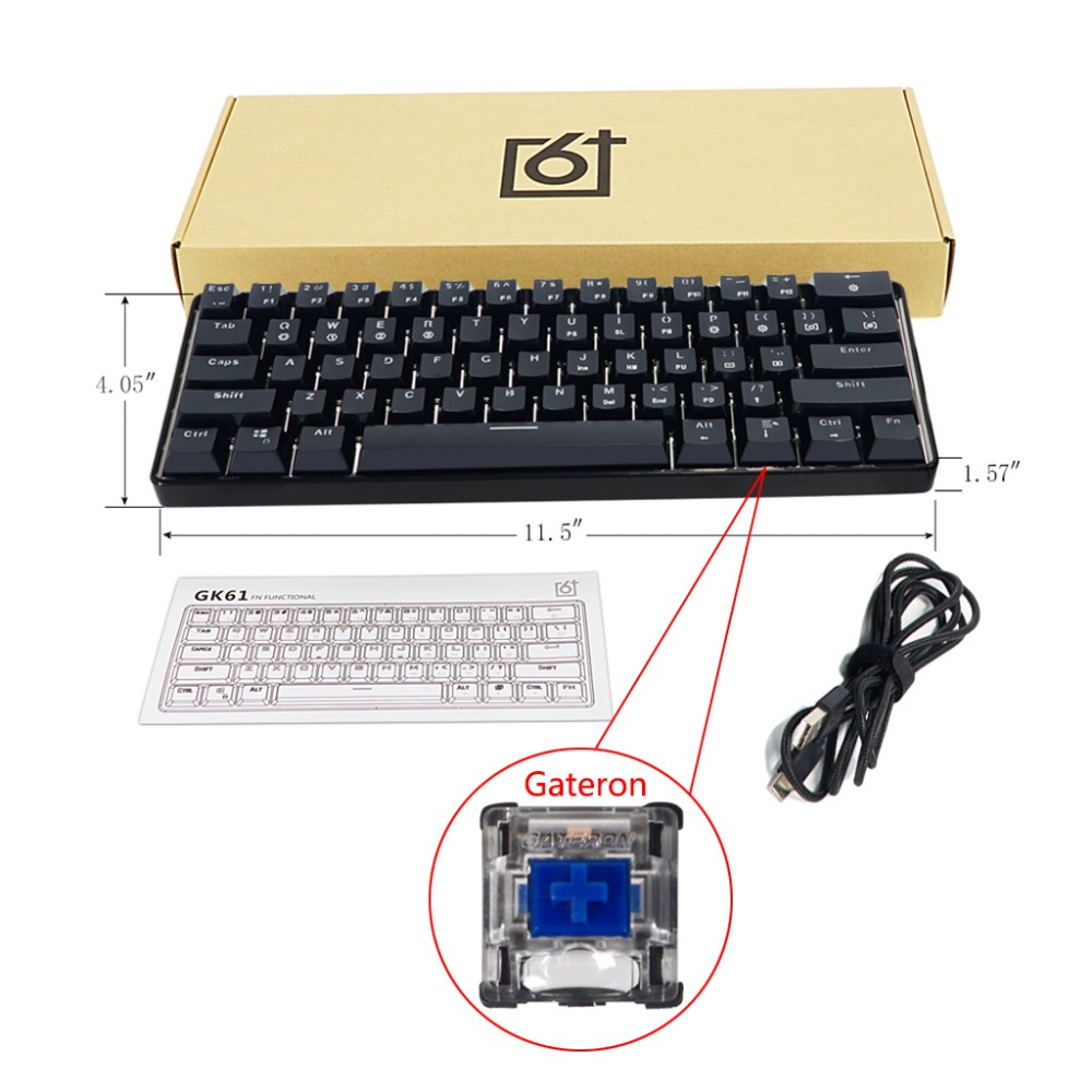 GK61 61 clé USB filaire LED rétro-éclairé axe Gaming clavier mécanique pour bureau MAY11 livraison directe