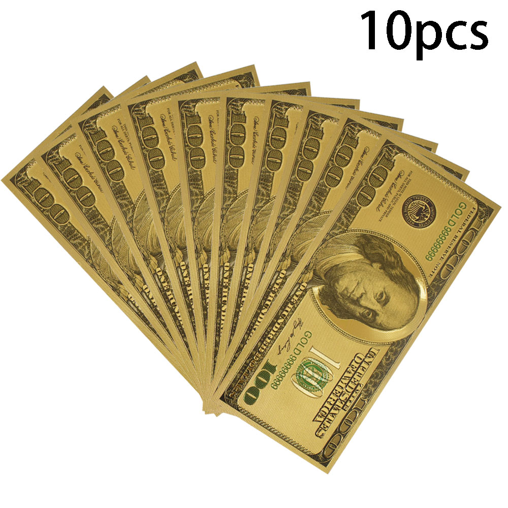 10pcs lot USD 100 Dollar Gold Foil Banknote with envolope America Fake Money For Collection Gift in Gold Banknotes from Home Garden