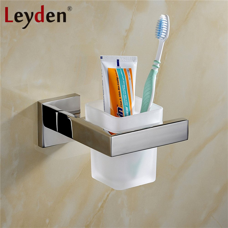 Leyden High Quality Toothbrush Tumbler&Cup Holder Stainless Steel Wall Mount Chrome/ Brushed Nickel Toothbrush Tooth Cup Holder stainless steel double tumbler toothbrush holder cup bracket set wall mounted