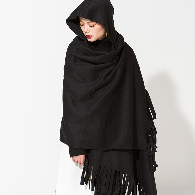 [Soonyour] 2017 новый сплошной цвет кистями весна женская мода бахромой капюшоном длинный черный платок шарф теплый AS18011