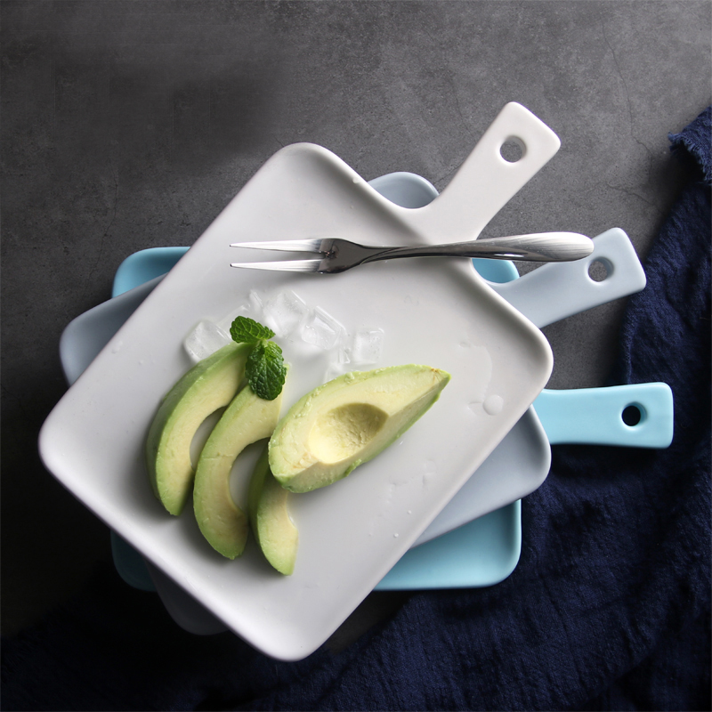 Créatif bref vaisselle occidentale en céramique porcelaine platine de prototypage petit déjeuner Dessert assiette Rectangle couleur unie fruits plat soucoupe