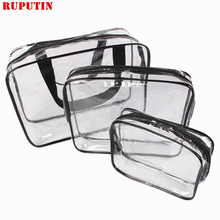 RUPUTIN 3pcs/set Transparent Women Cosmetic Bag PVC Travel Organizer Zipper Make Up Bathroom Waterproof Wash Bags