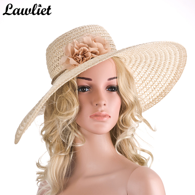 cdc289edae4ef Large Wide Brim Sun Hat for Women Kentucky Derby Flower Straw Summer Hats  Ladies Floppy Beach Cap A261