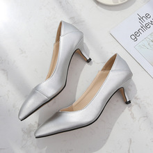 New Women Pumps Shoes Concise PU Leather Pointed Toe Slip-On 5cm Thin High Heel Shallow Sexy Lady Casual Female Shoes Plus Size lin king plus size square heel women pumps genuine leather slip on pointed toe high heel shoes lady sexy outdoor plarform shoes