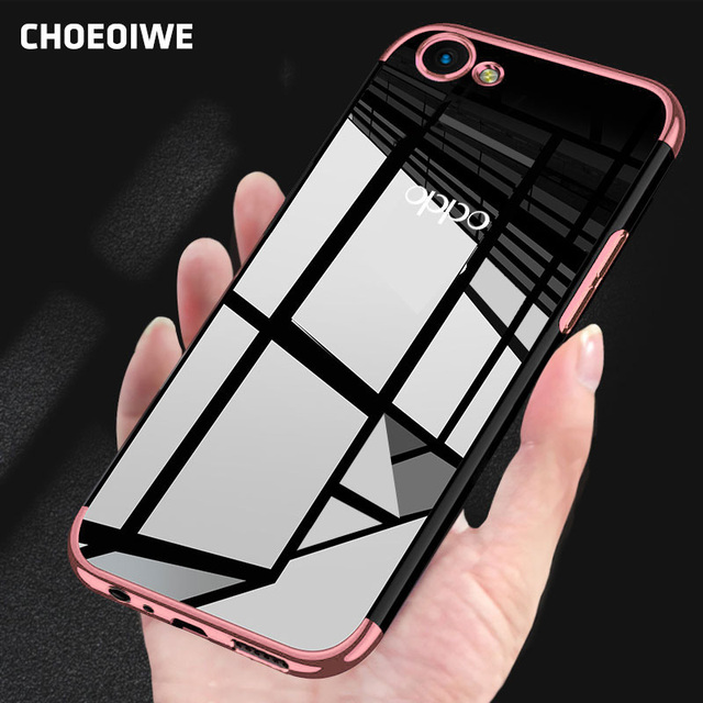 US $3 59 25% OFF|CHOEOIWE Transparent Cover for OPPO A83 F5 F7 A73 A57 A59  A79 Plating Soft Case Covers for OPPO F7 A73 Slim Silicone Shell Coque-in