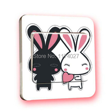Free Shipping Creative Black and white rabbit Switch Stickers Wall Stickers Home Decoration Bedroom Parlor Decoration