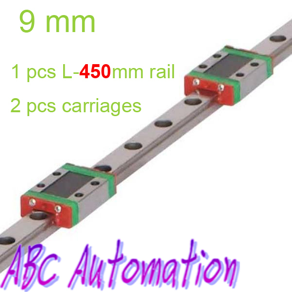 Free Shiping miniature linear guide for 1pcs MR9 L450mm linear rail + 2pcs MGN9C carriage for CNC router XYZ table wiben 2pcs lot jurassic allosaurus triceratops dinosaur toys animal model collectible model toy learning