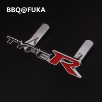 BBQ FUKA 1Pcs Black Red Metal Auto Car TYPE R TYPE R Front Hood Front Grilles