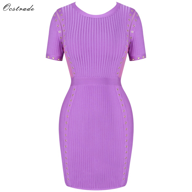 Ocstrade femmes automne vêtements 2019 nouvel an Vestido Bandage HL robe pourpre Metail pièce embelli Bandage robe avec manche