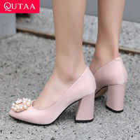 QUTAA 2019 Women Shoes Platform Slip on Women Pumps New Fashion Pointed Toe Party Shoes Square High Heel Ladies Pumps Size 34-43