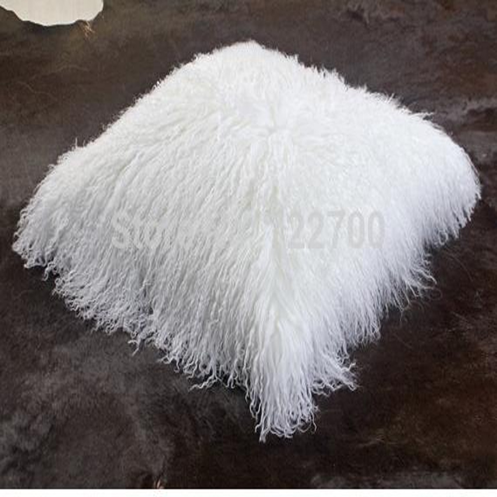 double sides mongolian tibetan lamb fur pillow cushion cover 30x50 cm white real fur pillowcase
