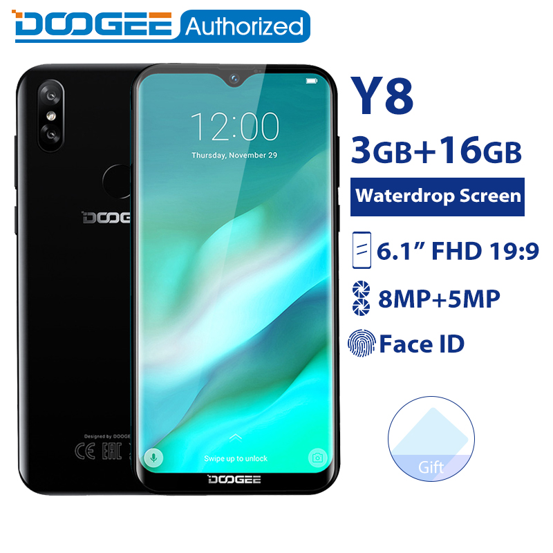 DOOGEE Y8 3 GB 16 GB téléphone portable Android 9.0 6.1 FHD écran de goutte d'eau 19:9 affichage complet MTK6739 Quad Core 3400 mAh 4G Smartphone