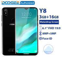 DOOGEE Y8 3GB 16GB Del Telefono Mobile Android 9.0 6.1 FHD Waterdrop Schermo 19:9 Display Full MTK6739 Quad core 3400mAh 4G Smartphone
