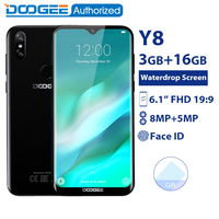 DOOGEE Y8 3GB 16GB Mobile Phone Android 9.0 6.1 FHD Waterdrop Screen 19:9 Full Display MTK6739 Quad Core 3400mAh 4G Smartphone