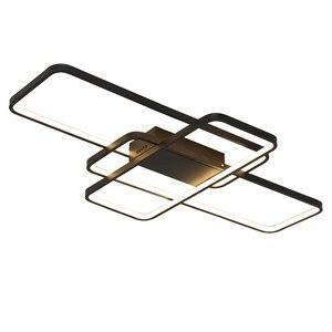 Image 5 - สี่เหลี่ยมผืนผ้ารีโมทคอนโทรลโคมไฟเพดาน LED โมเดิร์นสำหรับห้องนั่งเล่นห้องนอน Home AC85 265V สีขาว/สีดำโคมไฟเพดานโคมไฟ