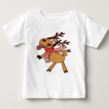 Christmas Little elk prints childrens T-shirt funny deer boy  and girl cartoon little summer short sleeved MJ