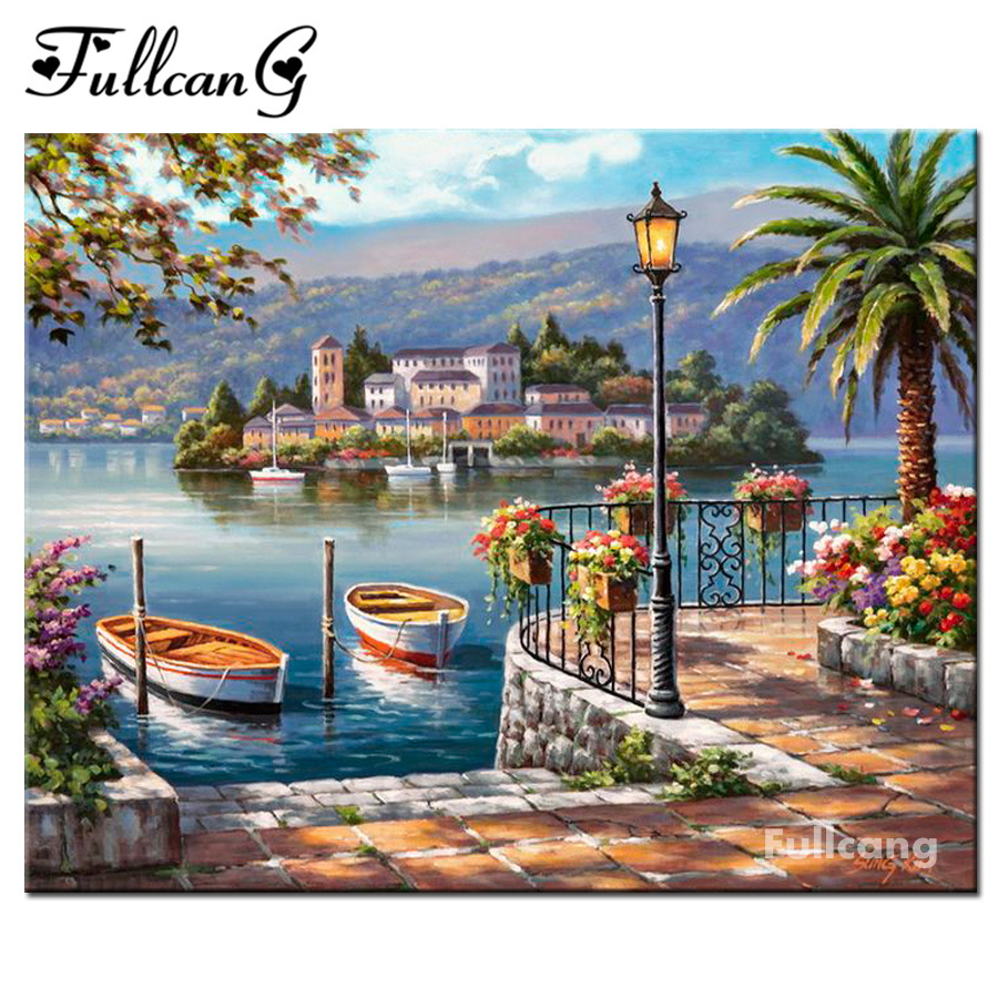 FULLCANG diy full square mosaic diamond painting seaside scenery diamond embroidery boat 5d diamond cross stitch kits E1353