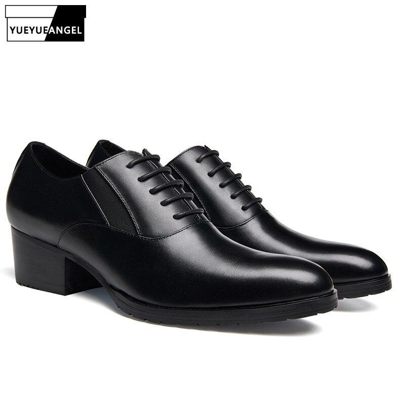 Talon Robe Homme Britannique Cuir Haute En Mode De Formelle Véritable D'affaires Chaussures Bout Noir Black Rond Bureau Hommes Qualité xqAnwZH7H