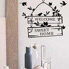 % welcome sweet home door sign decoration wall decals decorative vinyl wall stickers bedroom living room Animal bird branch