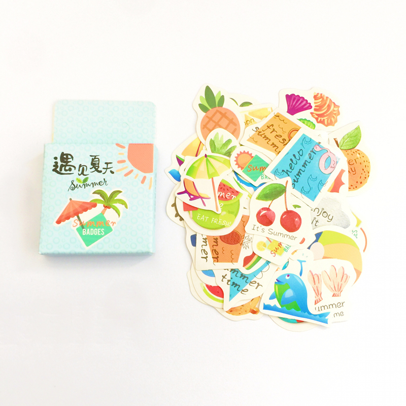45 Pcs /Pack Summer Style Adhensive Stickers Notebook Album DIY Decoration Stickers Stick Label