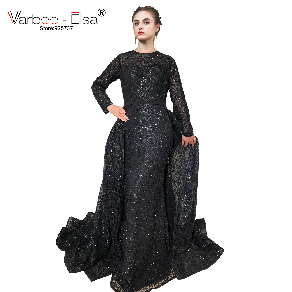 7b1a616a721 VARBOO ELSA Hot Sale Glitter Black Evening Dress Long Sleeve Detachable Train  Sequined Prom Sresses 2018 Custom robe de soiree