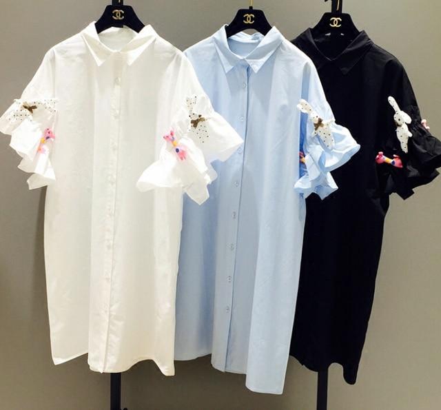 2016 New spring summer women fashion sweet Doll decoration petal sleeve single-breasted shirt dress women G87
