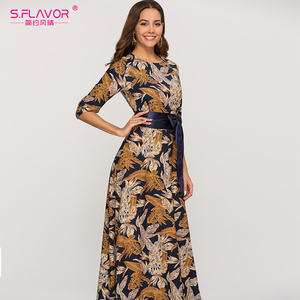 Image 3 - S.風味の女性の古典的なレトロカジュアルロングドレス 2020 夏のファッションランタンスリーブ o ネックドレス女性のための vestidos