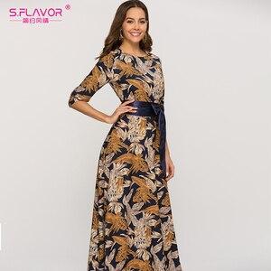 Image 3 - S. Smaak Vrouwen Klassieke Retro Toevallige Lange Jurk 2020 Zomer Mode Lantaarn Mouw O hals Boho Jurk Voor Vrouwelijke Vestidos