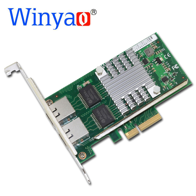 Winyao WYI350-T2V2 PCI-E X4 RJ45 Server Dual Port Gigabit Ethernet 10/100/1000Mbps Network Interface Card For i350-T2 NIC winyao wy576 f1 pci e x4 gigabit fiber server network card adapter green