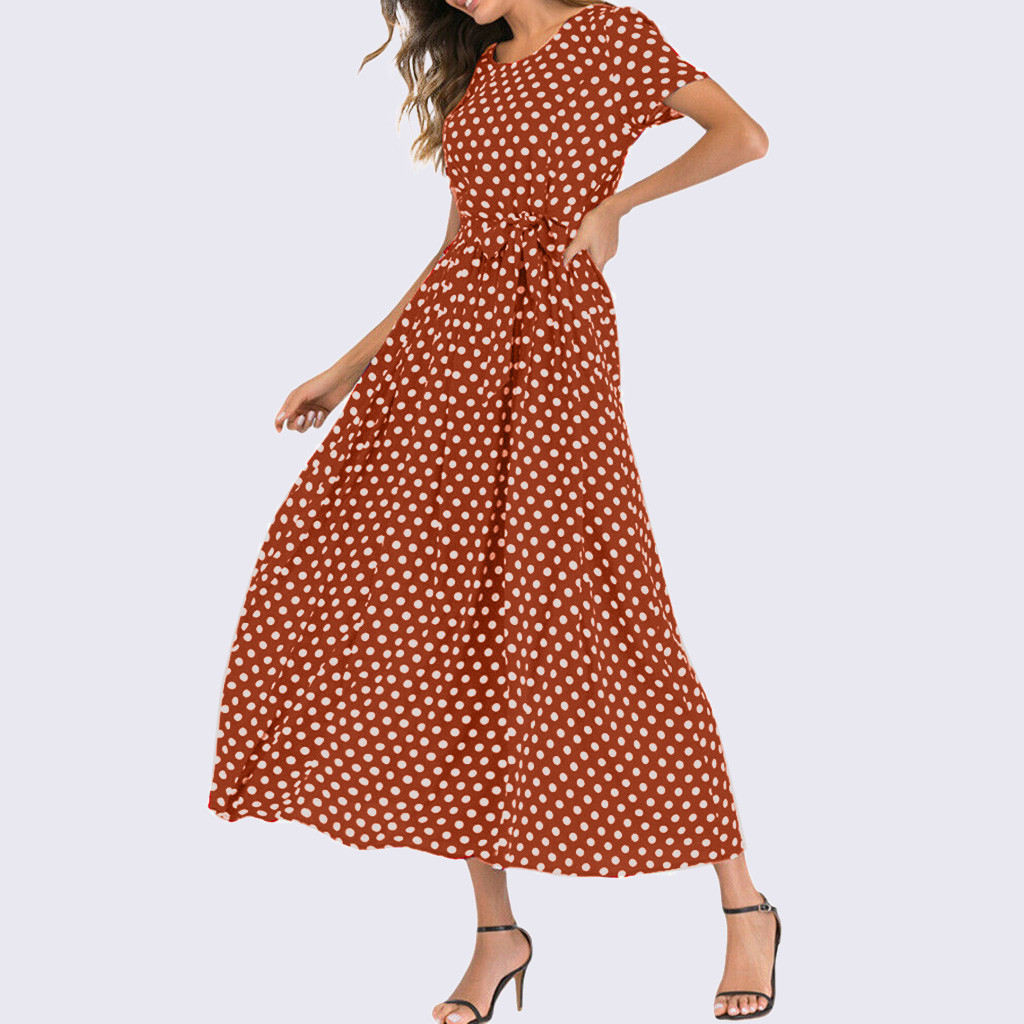 HTB1a3OTaEuF3KVjSZK9q6zVtXXac - Summer Dress Women O-Neck Short Sleeve Boho Polka Dot Bandage Maxi Long Dress Women Beach Sundress Plus Size Vestidos