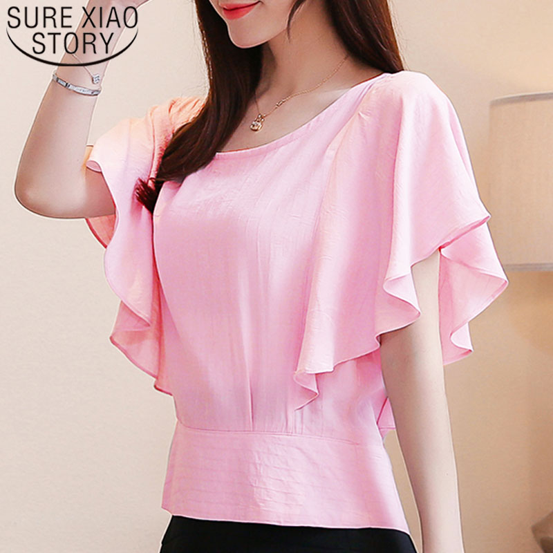 Women   blouse   tops 2019   shirts   ladies tops   blouse     shirts   chiffon   blouse   off shoulder top button solid Butterfly Sleeve 3439 50