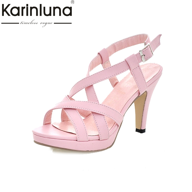 KARINLUNA Big Size32-43 Fashion Women Gladiator Sandals Cross Strap Spiked High Heels Summer Open Toe Platform Shoes Woman sgesvier fashion women sandals open toe all match sandals women summer casual buckle strap wedges heels shoes size 34 43 lp009