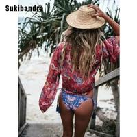 Sukibandra Summer Long Sleeve O Neck Hippie Boho Blouse Red Floral Print Bohemian Women Blouse Top
