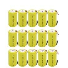 Bateria subc gtf 15 peças, 3400mah 1.2v ni-cd recarregável sub c baterias com tab para alimentação ferramentas,