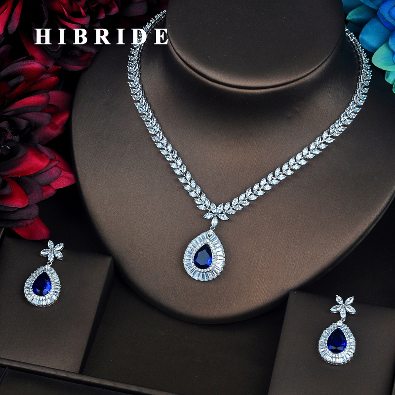 HIBRIDE Luxury Blue Water Drop AAA Cubic Zirconia Jewelry Set For Bride Wedding Dress Elegent Charm Accessories Party Gift N-505HIBRIDE Luxury Blue Water Drop AAA Cubic Zirconia Jewelry Set For Bride Wedding Dress Elegent Charm Accessories Party Gift N-505