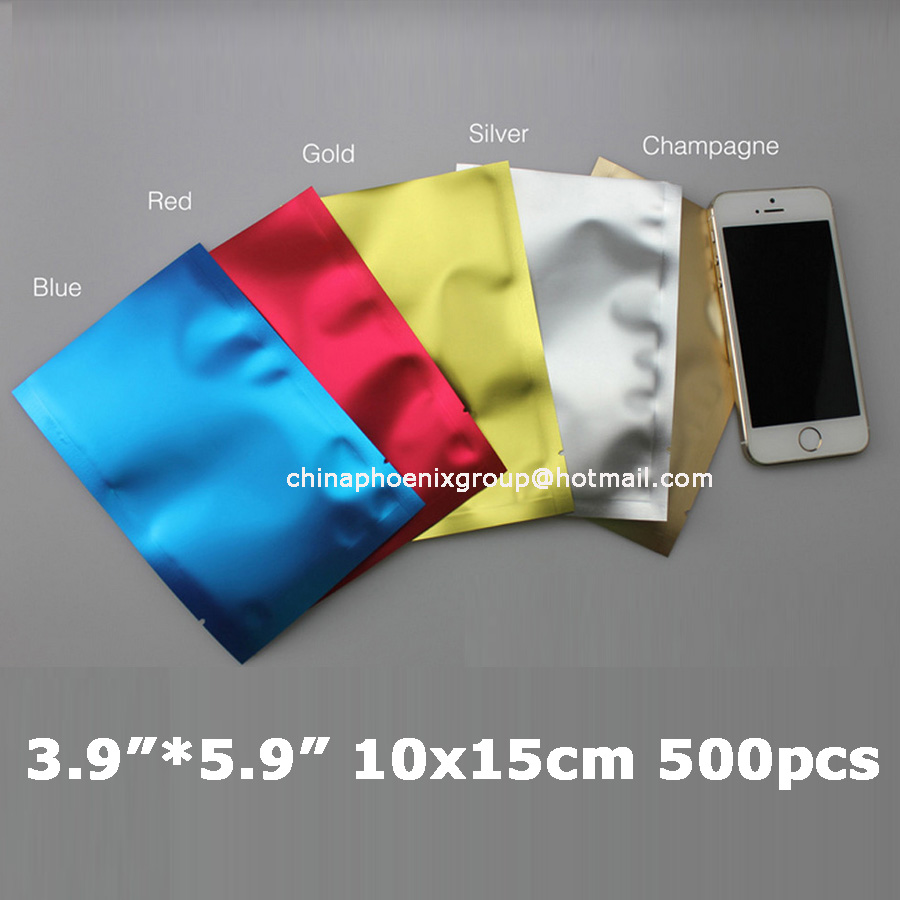 500 Pcs 10 X 15cm 3 9 5 Color Aluminum Foil Mylar Bags Vacuum Sealer Packaage Shipping Safe Food Packaging Seeds