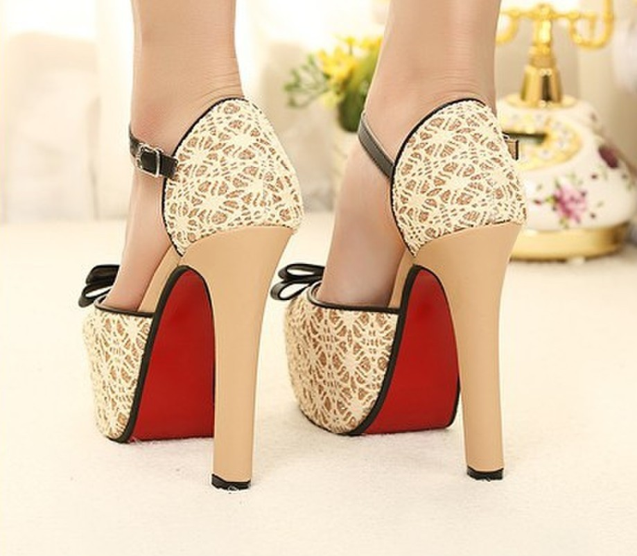 81b0c3f21a1 2014 New Women High Heels Shoes Pumps Summer Bow Square Lace Red Bootom  Platform Wedding Shoes Black Beige Free Shipping-in Women s Pumps from  Shoes on ...