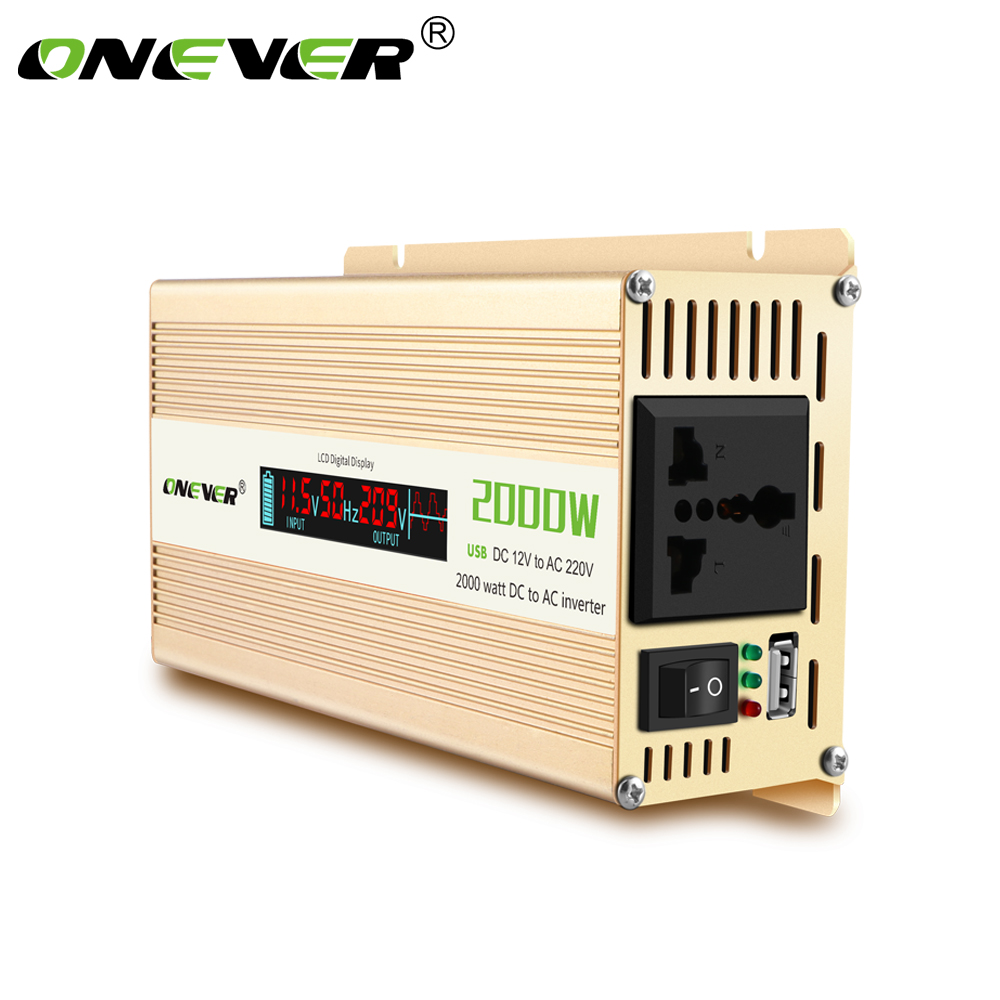 Onever Portable 2000W Car Power Converter (DC 12V to AC 220V) with LCD Digital Display